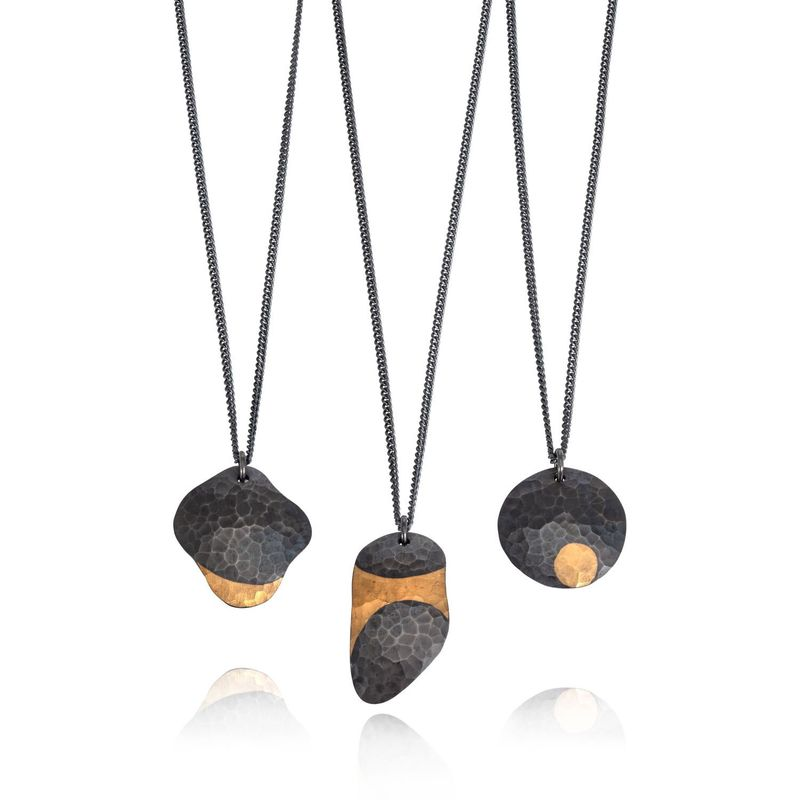 Weathered Shapes chain necklace black & gold 1 by Juliet Strong - product images  of