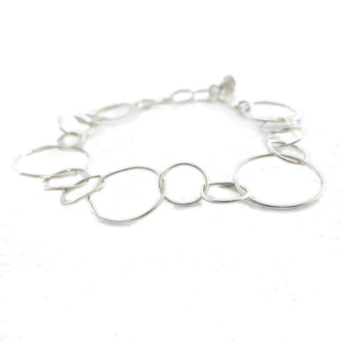 Loopy,Bracelet,in,recycled,silver,by,Catherine,Marche,handmade silver chain, round links chain, large chain, catherine marche, ethical jewellery, sustainable jewellery, floral