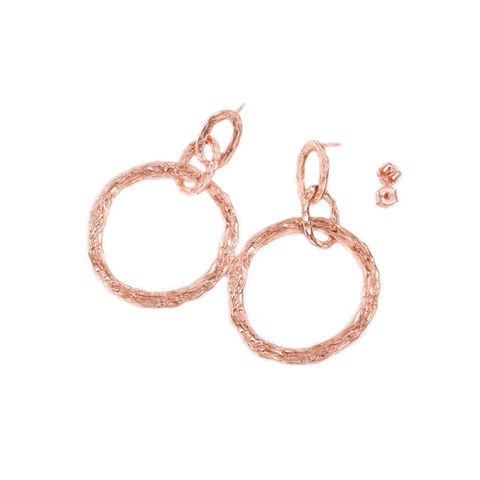 Large,hoop,earrings,rose,gold,vermeil,by,LaParra,Jewels,LaParra Jewels, textured rose gold hoops, large rose gold hoops