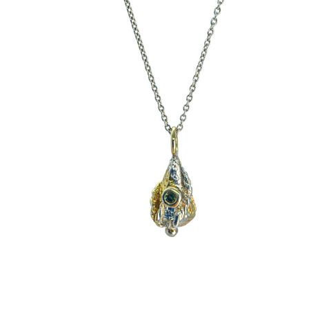 Micro,Lantern,necklace,by,Katherine,Brunacci,lantern pendant necklace with sapphire, ornate pendant