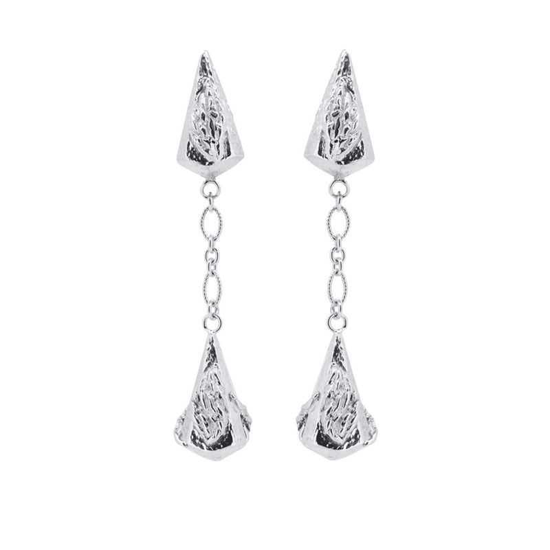 Lantern drop earrings silver by Katherine Brunacci - product images