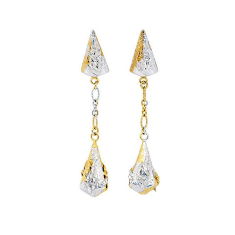 Lantern,drop,earrings,mottled,vermeil,by,Katherine,Brunacci,silver lantern drop earrings