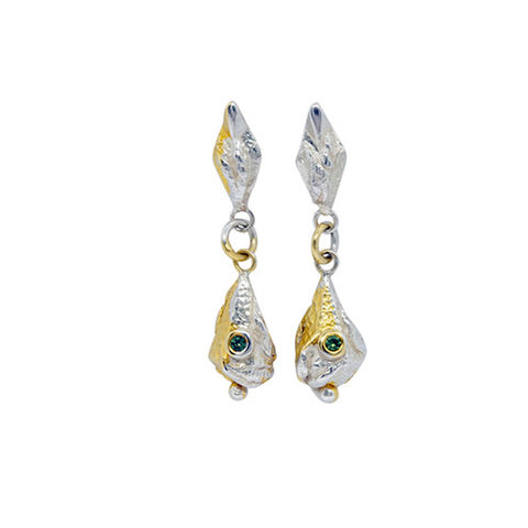 Lantern,earrings,green,sapphires,by,Katherine,Brunacci,silver lantern drop earrings with sapphire