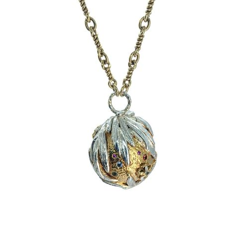 Full,Metal,Globo,necklace,by,Katherine,Brunacci,globe pendant necklace, ornate pendant