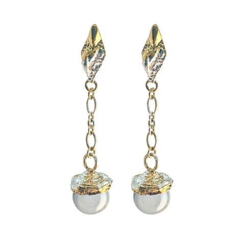 Globo,Quartz,earrings,vermeil,by,Katherine,Brunacci,silver gold and quartz earrings