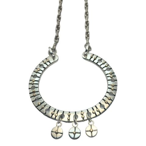 Tribal,necklace,with,9ct,gold,rivets,by,Katherine,Brunacci,silver and gold tribal necklace
