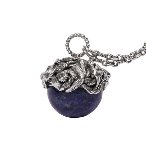 Charorite,Globo,necklace,by,Katherine,Brunacci,globe pendant necklace, ornate pendant
