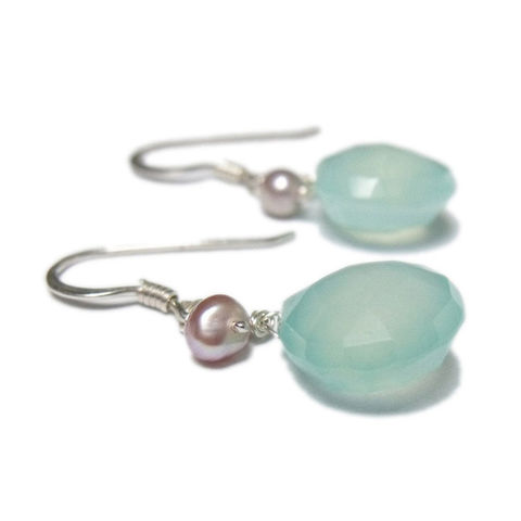 Teardrop,Earrings,with,pearls,by,Catherine,Marche,pearls earrings, blue gemstones, chalcedony earrings, teardrop gemstones, catherine marche, jewellery gift, june birthstone, lithotherapy jewellery, handmade in Britain