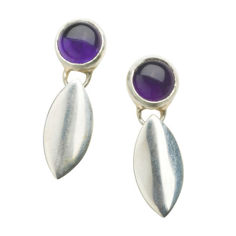 Amethyst,petal,earrings,by,Naomi,Tracz,silver petal earrings with amethyst, silver amethyst earrings
