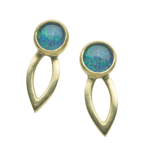 Opal,triplet,Dalia,earrings,by,Naomi,Tracz,solid gold earrings with opal triplets
