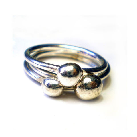 Pebbles,Rings,by,Catherine,Marche,silver stacking rings, pebble rings, orb rings, balls rings, recycled silver, catherine marche, organic jewellery