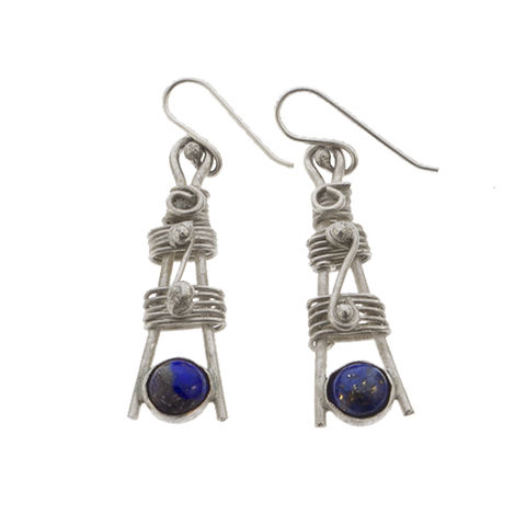 Totem,earrings,silver,by,Varr-Dan,silver totem earrings, Varr-Dan, jedeco, silver and lapis totem earrings