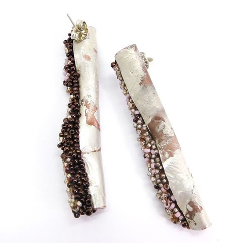 Long,branch,earrings,by,Dani,Crompton,silver studs with beads, autumnal earrings