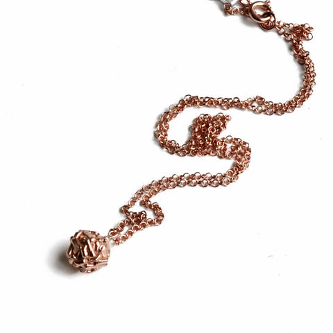 Free,Spirit,ball,necklace,rose,gold,by,Katerina,Damilos,Katerina Damilos, free spirit, rose gold ball necklace, textured ball necklace, rose gold charm necklace