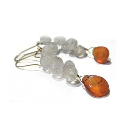 Moonstone,and,Carnelian,Earrings,in,18ct,yellow,gold,by,Catherine,Marche,recycled gold jewellery,mothers day precious presents, moonstone and gold earrings, 18K solid yellow gold, gold earrings, catherine marche, jedeco, orange gemstone, carnelian earrings, gift for her