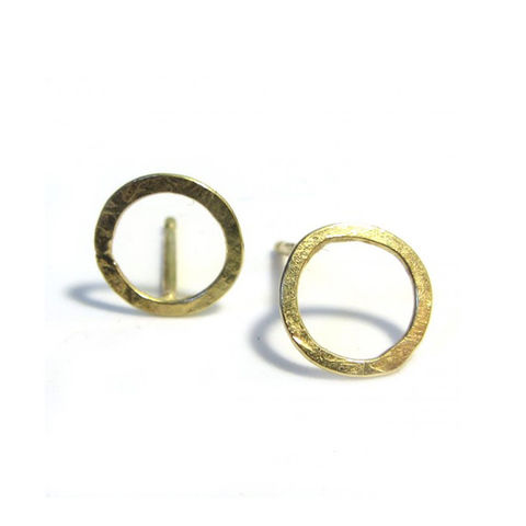 Round,gold,hoops,in,recycled,18ct,18K gold hoops,18K gold studs, 18ct gold earrings, circle earrings