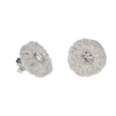 Winter,HANDKNIT,earrings,with,white,topaz,by,Danny,Ries,Danny Ries, silver hand-knitted ear studs