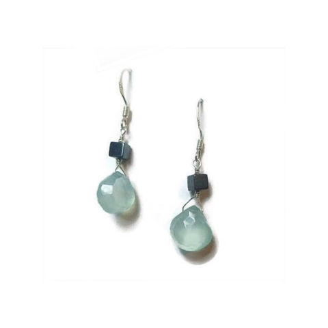 Aqua,Blue,Chalcedony,Earrings,with,Hematite,by,Catherine,Marche,hematite earrings, dangle earrings, blue gemstones, chalcedony earrings, teardrop gemstones, catherine marche,recycled  jewellery gift, lithotherapy jewellery, handmade in Britain