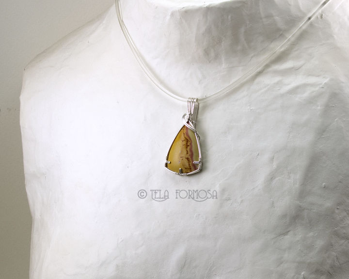 Wire Wrapped Yellow Rhyolite Pendant Stering Silver Handmade Natural Stone - product images  of
