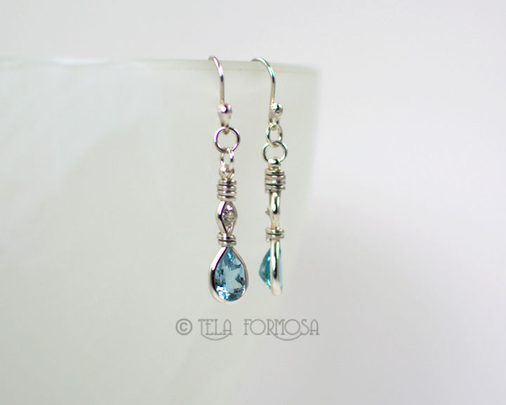 Wire Wrapped Blue Topaz Earrings with White Zircon Gemstone Sterling Silver Long Dangly - product images  of