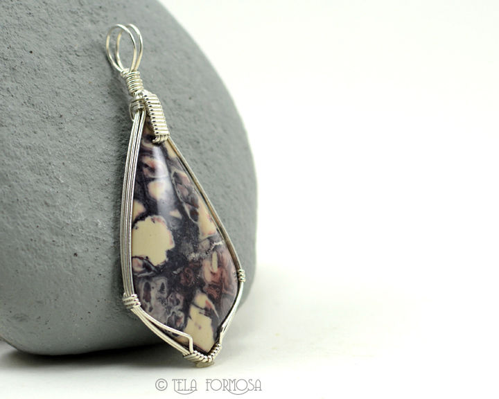Porcelain Sci Fi Exotica Jasper Pendant Pink Purple Wire Wrapped Natural Stone - product images  of