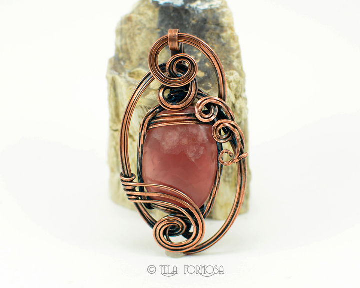 Sculpted Wire Victorian Style Gel Rhodochrosite Pendant SteamPunk Pink Copper Handmade  - product images  of