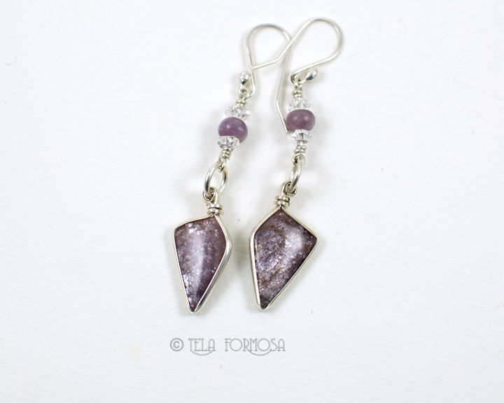 Wire Wrapped Lepidolite Earrings Sparkly Iridescent Lilac Purple Handmade Sterling Silver - product images  of