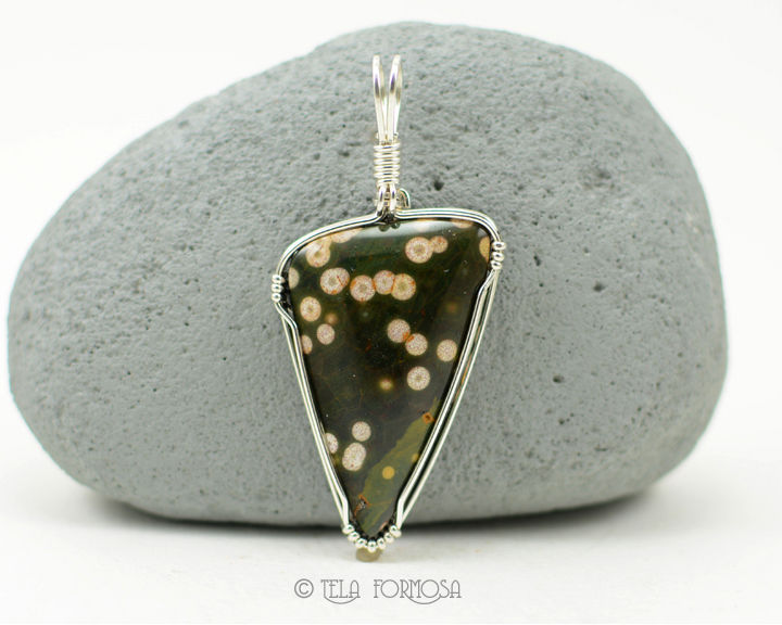 UNISEX MENS Rare Ocean Jasper Pendant Green Stone Cabochon Wire Wrapped Handmade - product images  of