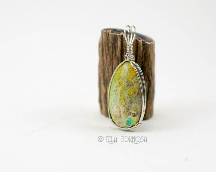 Primavera Prima Vera Pendant Green Stone Sterling Silver Wire Wrapped Cabochon Rustic Organic - product images  of