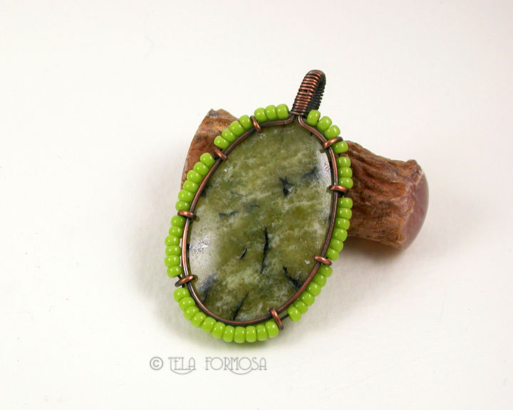 Dendritic Serpentine Pendant Wire Wrapped Handmade Copper Lime Green Natural Stone - product images  of