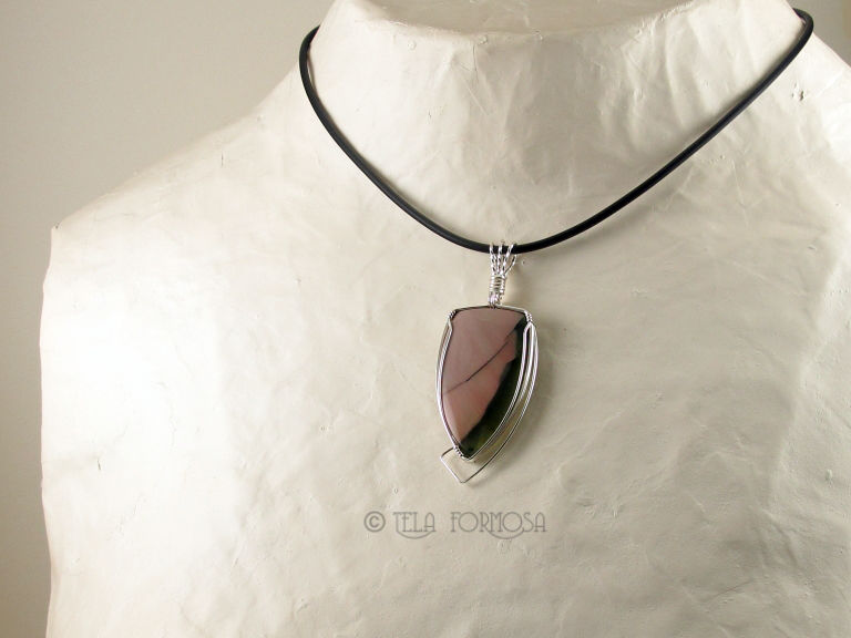 Wire Wrapped High End Imperial Jasper Pendant Natural Stone Cabochon Handmade Sterling Silver - product images  of