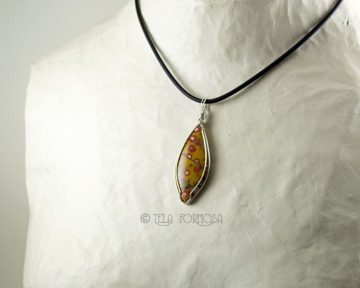 Guadalupe Poppy Jasper Pendant Rare Orbicular Jasper Yellow and Red Stone Sterling Silver Wire Wrapped - product images  of