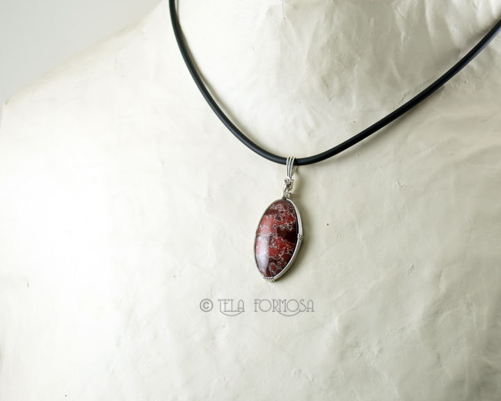 Unisex Hornitos Poppy Jasper Rare Orbicular Jasper Red Natural Stone Sterling Silver Wire Wrapped - product images  of