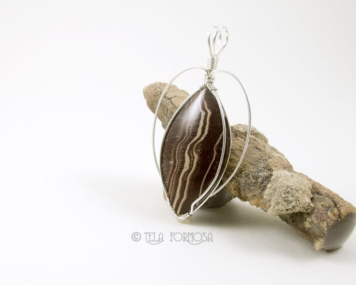 Betty Crocker Jasper Pendant Chocolate and Vanilla Sterling Silver Wire Wrapped Pendant - product images  of