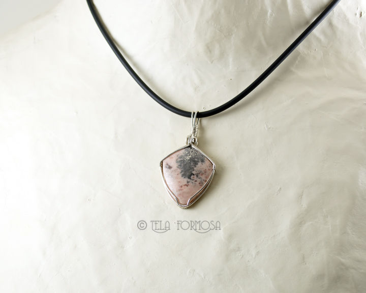 Dendritic Native Silver in Pink Dolomite Pendant Natural Stone Handmade Sterling Silver Wire Wrapped - product images  of
