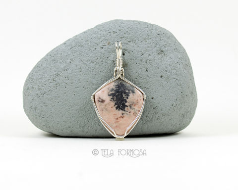 Dendritic,Native,Silver,in,Pink,Dolomite,Pendant,Natural,Stone,Handmade,Sterling,Wire,Wrapped,Jewelry,wire_Wrapped_Jewelry,silver_pendant,Pink_Dolomite,dolomite_Pendant,Dendritic silver,dendrites,Natural_Stone,stone_Cabochon,cabochon_Pendant,Sterling_Silver,Wire_Wrap,silver_wire_wrap
