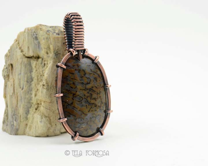 Unisex Mens Dinosaur Bone Pendant Dino Bone Fossil Copper Handmade Wire Wrapped - product images  of