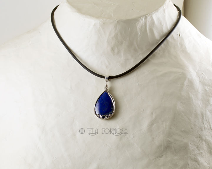 Bright Blue Lapis Pendant Natural Stone Cabochon Gemstone Wire Wrapped Handmade - product images  of