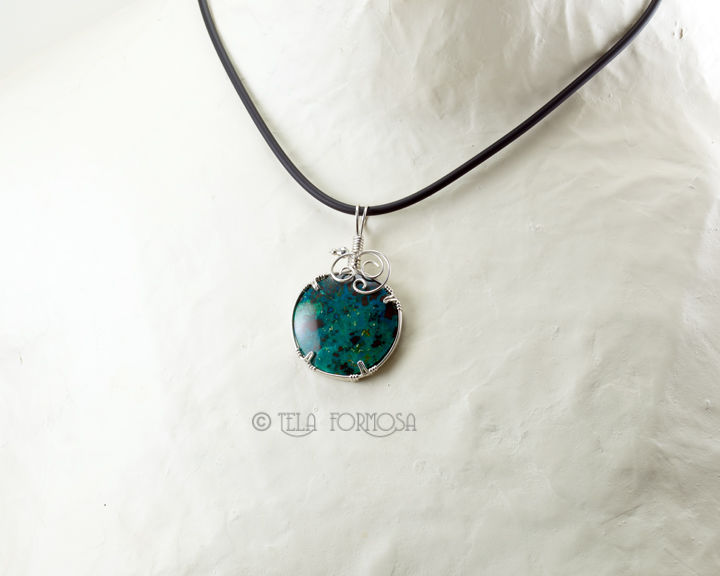 Chrysocolla Pendant Blue Green Natural Stone Sterling Silver Wire Wrapped Jewelry Handmade - product images  of