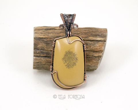 Wire,Wrapped,Sage,Dolomite,Pendant,Dendritic,Yellow,Natural,Stone,Handmade,Copper,Jewelry,Wire_Wrapped_Jewelry,Wire_Wrapped_Pendant,Sage_Dolomite,dolomite,dolomite_Pendant,Yellow_Pendant,Natural_Stone,stone_Cabochon,cabochon_Pendant