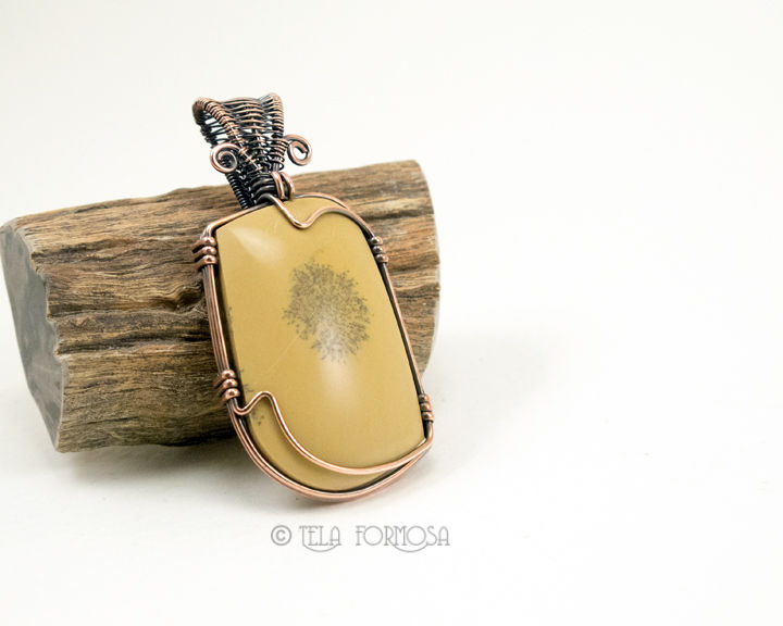 Wire Wrapped Sage Dolomite Pendant Dendritic Yellow Natural Stone Handmade Copper - product images  of
