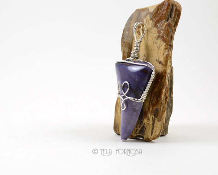 Imperial Purple Burro Creek Agate Pendant Sterling Silver Wire Wrapped Handmade Stone Cabochon - product images  of
