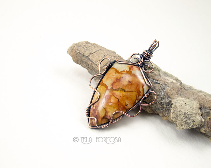 Rocky Butte Picture Jasper Pendant Scenic Natural Stone Cabochon Pendant Copper Wire Wrapped - product images  of