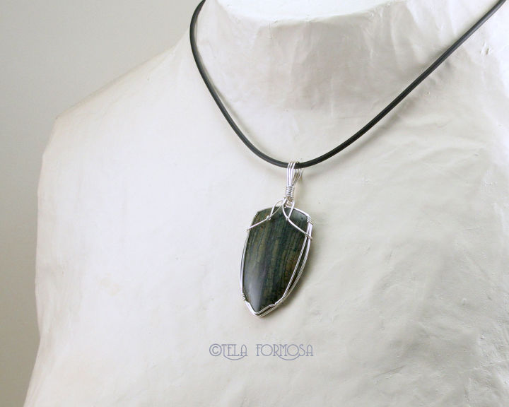 Hampton Butte Green Petrified Wood Pendant Fossil Stone Natural Stone Sterling Silver Wire Wrapped - product images  of