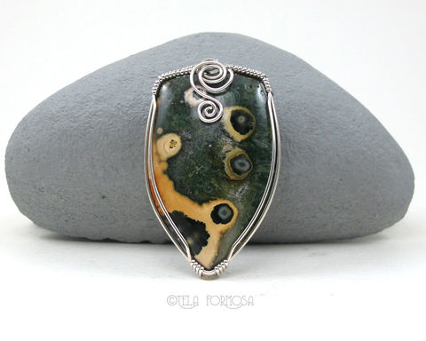 Rare,Unique,Large,Ocean,Jasper,Pendant,Hidden,Bail,Green,and,Yellow,Natural,Stone,Sterling,Silver,Jewelry,Ocean_Jasper,jasper_Pendant,pendant,Hidden_Bail,Green_and_Yellow,Natural_Stone,stone_Pendant,Sterling_Silver,Handmade,wire_wrapped_jewelry,natural stone,sterling silver wire,Rare Madagascar Ocean Jasper