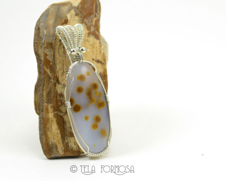 Blue Ice Polka Dot Agate Pendant Yellow Dots Natural Stone Cabochon Wire Wrapped Woven Bail - product images  of
