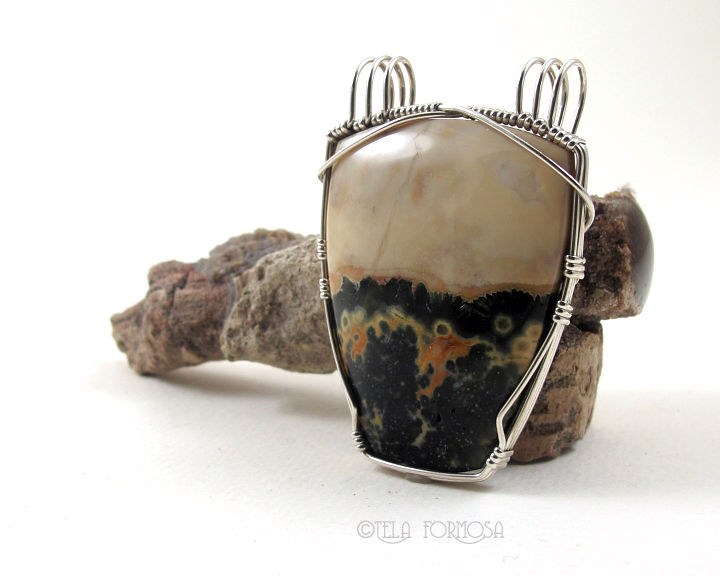 Rare Ocean Jasper Pendant Double Bail Green and Yellow Natural Stone Sterling Silver Wire Wrapped - product images  of