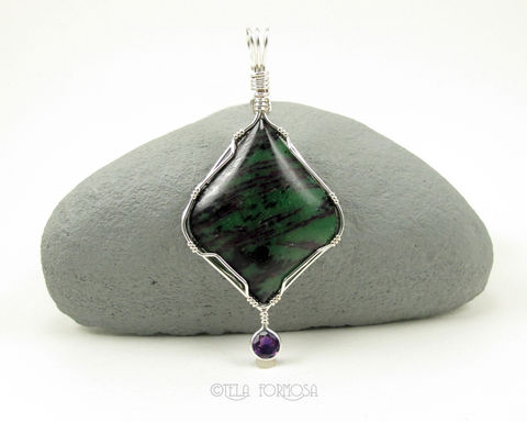 Natural,Two,Stone,Pendant,Green,Zoisite,Red,Ruby,Purple,Amethyst,Sterling,Silver,Wire,Wrapped,Jewelry,Ruby_in_Zoisite,Natural_Stone,stone_Pendant,2_Stone_Pendant,Sterling_Silver,Handmade,wire_wrapped_pendant,unique