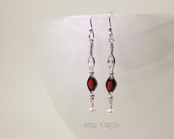 Wire Wrapped Natural Gemstone Garnet Earrings Zircon Pearl Handmade Silver Long Red Earrings - product images  of