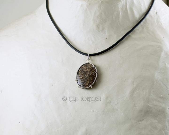 Wire Wrapped Deschutes Jasper Scenic Picture Jasper Natural Stone Sterling Silver Handmade - product images  of